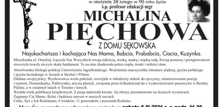 Z żalem zawiadamiamy o śmierci pani Michaliny Pięchowej naszej byłej nauczycielki